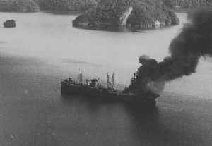 Imperial Japanese Navy oiler Irō under attack on 30 March 1944, Palau, photo by United States Navy